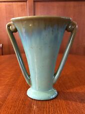 Fulper Twin Handle Vase Turquoise with gold accents Excellent Condition Signed