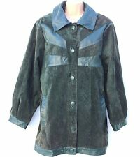 Vintage Green 100% Real Leather Hip Length Ladies Women's Jacket Coat Size UK 16