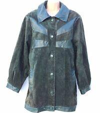 Vintage Green 100% Real Leather Hip Length Ladies Women's Jacket Coat Size UK 16