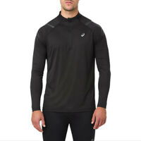 Asics Mens Icon Long Sleeved 1/2 Zip Top Black Sports Running Half Breathable