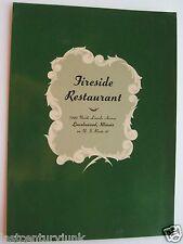 Restaurant Menu For The Fireside Restaurant Lincolnwood, Illinois 50's