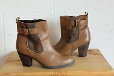 BROWN FAUX LEATHER ANKLE HEEL BOOTS SIZE 8 BY TU GOOD WORN CONDITION