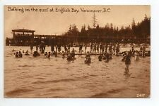 CANADA carte postale ancienne VANCOUVER bathing at english bay