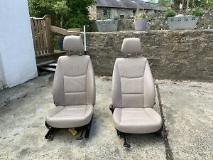 Pair Bmw F25 X3 Oyster Leather Front Seats