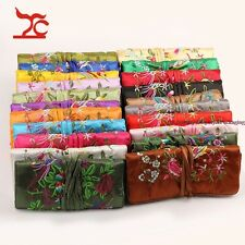 10pcs Portable China Silk Jewelry Roll Organizer Travel Bag Brocade Household
