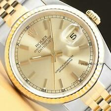 ROLEX MENS DATEJUST 16233 CHAMPAGNE DIAL 18K YELLOW GOLD/STAINLESS STEEL WATCH