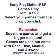 Sony Playstation PSP Spiele nur-wählen Sie Spiele aus dem Dropdown-A bis Z Liste