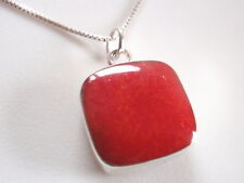 Reversible Red Coral and Mother of Pearl 925 Sterling Silver Pendant