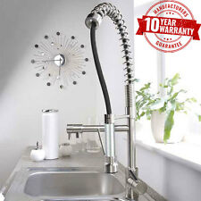 Commercial Brushed Steel Monobloc Kitchen Sink Mixer Tap Pull Out Spray Head