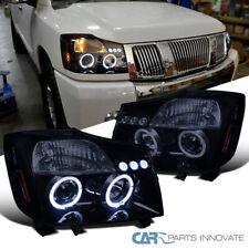 Glossy Black For Nissan 04-15 Titan Armada Tinted LED Halo Projector Headlights
