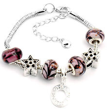 "European Style Murano Glass Charm Bracelet  7""  to 9""  Free Shipping"