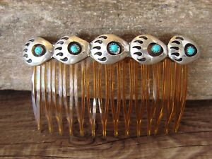 Native American Jewelry Sterling Silver Bear Paw Hair Comb