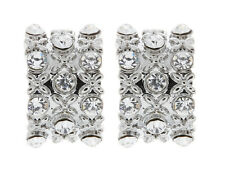 CLIP ON EARRINGS - silver curved earring with clear crystals and crosses - Vera