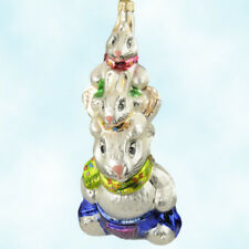 "Radko Hop On Top Ornament Easter Rabbit TotemPole 8.3"" 1998 Ornament Christopher"