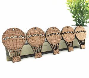 20X Wooden Pendant Hot air balloon shape Decoration Scrapbooking Handicraft 50mm