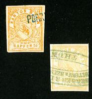 Switzerland Stamps VF 2x Kanton Bern Imperf Revenues
