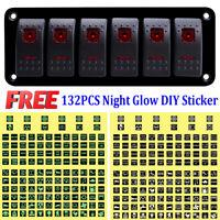 Red LED 6 Gang ON-OFF Toggle Switch Panel 2 USB 12V-24V Car Boat Marine RV Truck