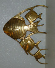 Brass Fish Wall Hanging Decor Vtg Tropical Large Mid Century 13""