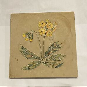 Antique Tile Yellow Flowers Primrose Relief Hand Done Raised Design Gorgeous
