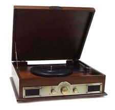 New Pyle PTT30WD Bluetooth Turntable USB Recording With CD/MP3 AM/FM Player Wood