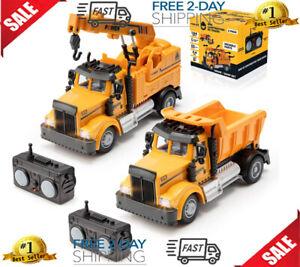 Rc Mini Crane Dump Truck (2 Pcs) Truck Dumping Remote Control Construction Toy