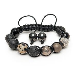 Shamballa Gemstone Bracelet Pave Crystal Jasper Silver Karma Lava Onyx Hematite