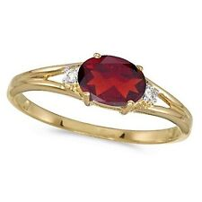 Oval Ruby & Diamond Right Hand Ring 14K Yellow Gold