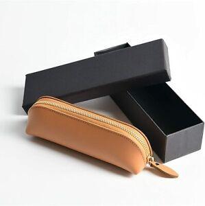 Pen case leather simple slim pen case brown