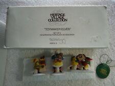 """Dept 56 Heritage Village Set of 3 Handpainted Porcelain """"Toymaker Elves"""" #5602-2"""