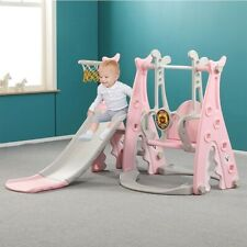 4 in 1 Toddler Slide Swing Climb Playset Kid Toy Indoor/Outdoor Playground Pink