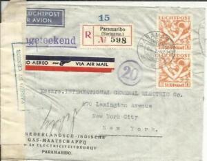 Suriname Sc#C4(pair)-PARAMARIBO 24/1/42-Registered(label)-WWII CENSORS-AIR