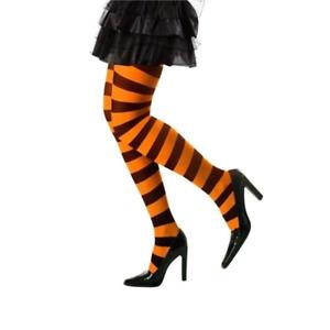 New Ladies Orange/Black Striped Tights Witch Halloween Fancy Dress Accessory