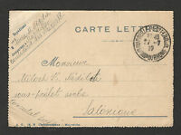 WWI-FRANCE-SERBIA-GREECE-LETTER CARD-MARSEILLE TO SOLANIQUE, SERBIAN CONSUL-1917