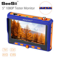 "SEESII 5"" HD 1080P Tester Monitor TVI CVI AHD VGA CVBS 4 in 1 Security Camera"