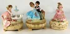 Lot of 3 Josef Originals Vintage Ceramic Music Boxes From Japan