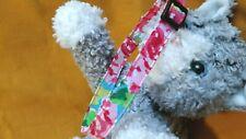 Spring Pink Roses Floral Handmade Fabric Cat Collar. Colorful Fun