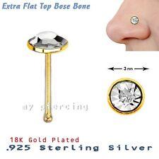 22g 18ct chapado en oro plata de ley 925 plano redondo 3mm Gema de cristal