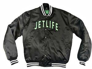 NEW Jet Life Apparel Logo Curren$y Black Satin Bomber Jacket Sz XXL (Runs Small)
