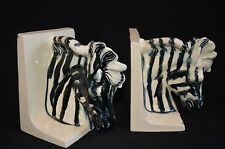 "ZEBRA CERAMIC BOOKENDS vintage Heavy Blue-black and ivory colored 5.5"" high"