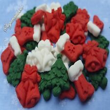 30 Edible sugar christmas socks bells trees sticks cake cupcake toppers