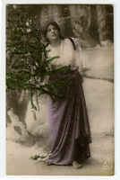 c 1910 Young Lady with SMALL CHRISTMAS TREE Vintage photo postcard