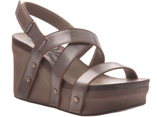 OTBT Sail in Pewter Leather Ankle Strap Wedge Sandal Women's sizes 6.5,7,10 NEW!