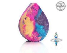 Fragrant Jewels UNICORN TEARS Bath Bomb w Swarovski Crystal Ring Sz 8 New/Sealed