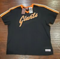 San Francisco Giants Mitchell & Ness Overtime Win V-Neck T-Shirt Black Size 2XLB