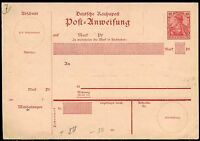 GERMANY REICHPOST 10 pfg POST ANWEISUNG  POSTCARD MINT GERMANIA TYPE