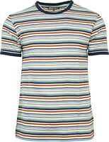 Mens Run & Fly Multi Coloured Retro Indie Striped Ringer T-Shirt 60s 70s 80s 90s