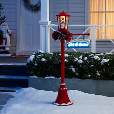Christmas Lamp Post Outdoor Lighting Yard Decoration Snow Blowing Snowman Red