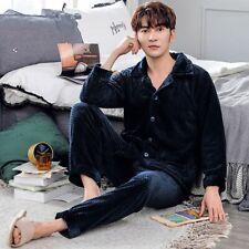 Mens Winter Thick Coral Fleece Men Pajamas Sets Flannel Warm Sleepwear