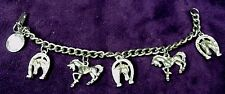 "TWEETSIE RR Western Cowgirl Horse Shoe Equestrian Charm Curb Chain Bracelet 7"""
