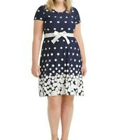 Plus Size NY Collection Navy And White Dot Jersey Fit And Flare Dress XL